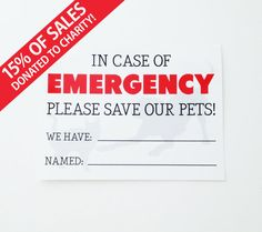 Emergency Pet Sticker - Save Our Pets - Door Sticker Or Window Sticker For Your…