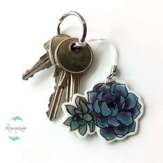 Succulent keychain Plant charm Blue Phone by RosemarineCreation