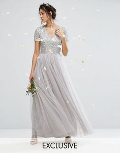 Maya V Neck Tulle Maxi Dress With Tonal Delicate Sequins