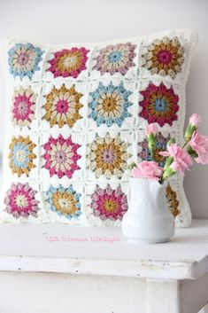 "Adorable granny squares and other stuff over at ida""s interior lifestyle.  Check out her blog.  Fabulous."