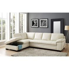 Alandro Grey Top Grain Leather Sectional With Pull Out Bed