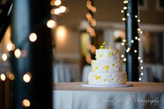 Bride & Groom | Yellow Flowers | 3 - tiered Wedding Cake / Lights | Abe & Jake's Landing Lawrence KS | Topeka KS Wedding Photographer | Stacey Zoll Photography