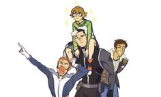 """rainbowpandababy: """" Someone pls draw the Voltron crew. """" Coran lost it Shiro booty These two work surprisingly well when they're teasing Hunk about Shay."""