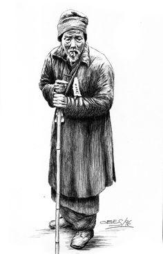 Anciano oriental (Año 1996) - De Gonzalo Obes - Tinta china y bolígrafo - http://obes.es