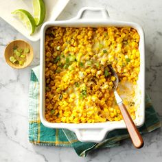 Mexican Street Corn Bake Recipe -We discovered Mexican street corn at a festival. This easy one-pan version saves on prep and cleanup. Every August, I freeze a lot of our own fresh sweet corn, and I use that Vegetarian Casserole, Corn Casserole, Vegetable Casserole, Casserole Recipes, Broccoli Cheese Casserole, Stuffing Casserole, Enchilada Casserole, Corn Recipes, Side Dish Recipes
