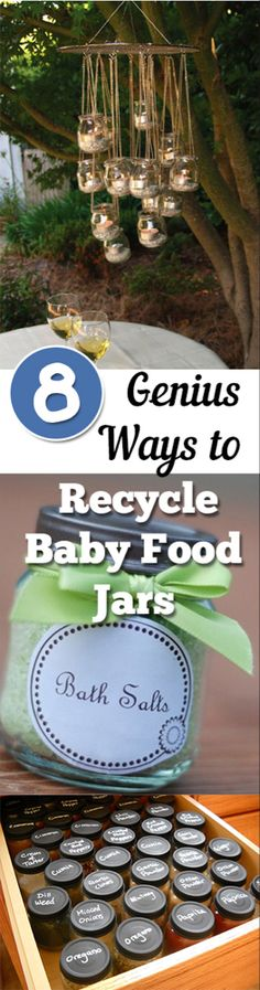 DIY baby food jars, baby food jar upcycle, recycling projects, simple crafting, popu … - How To Crafts Mason Jars, Bottles And Jars, Mason Jar Crafts, Glass Jars, Canning Jars, Baby Jars, Baby Food Jars, Food Baby, Baby Foods