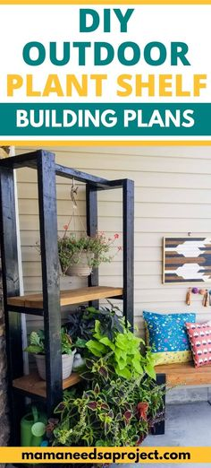 Build a modern outdoor plant shelf for your hanging plants and potted plants on your front porch! This DIY plant shelf is an easy beginner woodworking project and has free printable woodworking plans. Diy Yard Furniture, Diy Furniture Projects, Garden Projects, Wood Projects, Beginner Woodworking Projects, Woodworking Plans, Hanging Plants, Potted Plants, Outdoor Shelves