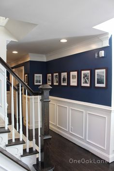 Peach Color Schemes, Blue Hallway, Wainscoting, Family Room, New Homes, Stairs, Decorating Ideas, Decor Ideas, Dining Rooms