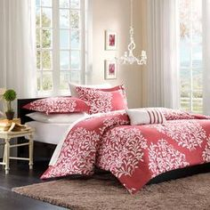 Mi-Zone Folklore Raspberry Big Print Comforter Set, Discover home design ideas, furniture, browse photos and plan projects at HG Design Ideas - connecting homeowners with the latest trends in home design & remodeling Home Essence, Girl Beds, Simple Decor, Comforter Sets, Bedding Sets, Girls Bedroom, Bedroom Decor, Home Decor, Dorm Bedding