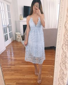 blue lace midi dress review for spring or summer wedding guest outfits