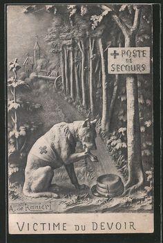 Pc Victime du Devoir, Sanitätshund leckt seine Wunde, Poste de Secours, Red Cro