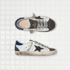 Golden Goose Super Star Sneakers In Leather With Suede Star Kids - Golden Goose / GGDB