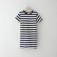 Jersey striped t-shirt dress. So perfect with gold sandals and jewelry for those on-the-go summer days.