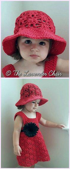 Weeping Willow Toddler Dress &Hat Set Crochet Free Patterns