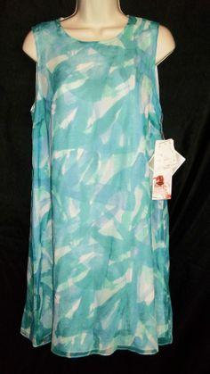 NWT ADRIANNA PAPELL AQUA 100% SILK LINED DRESS SIZE 12P #AdriannaPapell #Shift #Cocktail