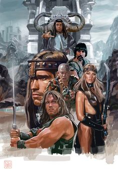 Conan the Barbarian ( Arnold Schwarzenegger, James Earl Jones, Sandahl Bergman, Gerry Lopez, Max von Sydow Conan Der Zerstörer, Conan The Barbarian 1982, Barbarian King, Conan Der Barbar, Cinema Tv, Kino Film, Sword And Sorcery, Movie Poster Art, Fantasy Movies