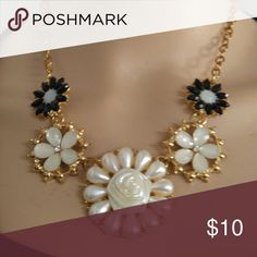 Gold white flower bib necklace Brand new and never wore it Jewelry Necklaces