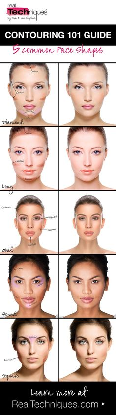 Real Tips Face Shape Contour Guide Contouring 101 Long Face Contour, Face Shape Contour, Face Contouring, Contour Makeup, Contouring And Highlighting, Shape Of Face, Makeup For Oval Face Shape, Contouring Tutorial, How To Contour Your Face