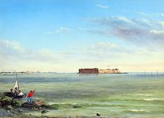 """""""Forts Sumter & Johnson, March 15, 1864"""" (Conrad Wise Chapman, 1864, oil on canvas). C.W. Chapman was a C.S. war artist, and soldier, commissioned by General P.G.T. Beauregard, to paint a number of scenes of Charleston, SC, which was besieged by sea for most of the WBTS. A later note by Chapman (1898) says: """"Shows mail boat going from one fort to the other.  A good view of Fort Moultrie can be had from this point.  A shell would be thrown over the fort about every five minutes."""""""