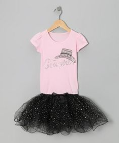Take a look at this Light Pink & Black Sequin Cowgirl Tutu Dress - Girls by Bubblegum Diva on #zulily today!