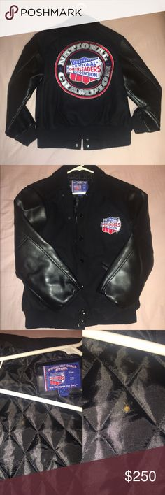 NCA jacket Older style National Cheerleaders Association Championship jacket. Size XS. Good condition. There is a small stain on the inside of the jacket, as shown in the third photo. Popular jacket for any collection, costume, to replace another, ect. Open to offers, but not in a rush to sell. varsity Jackets & Coats