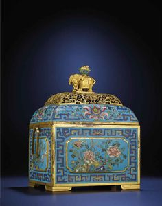 A RARE CLOISONNE ENAMEL RECTANGULAR CENSER AND COVER QING DYNASTY, 17TH/18TH CENTURY