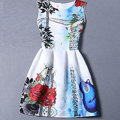 Women's Cute Print A Line Dress,Round Neck Mini Polyester - AUD $ 14.29