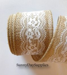 Burlap and Lace Ribbon, Natural Jute and White Lace Ribbon -  2.5 inches wide - 1 yard - Lovely White Lace
