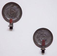 primitive round tin candle sconces
