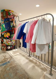 NYC DOVER STREET MARKET - The young French designer Simon Porte Jacquemus opted for the minimal feel of a clinic for his section of the fourth floor installation, kno...