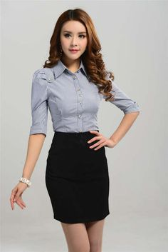 Tienda Online New 2015 Spring Summer Formal Ladies Business Suits for Women Work Wear Set with Skirt and Blouses Twinsets Office Uniform Style Office Uniform For Women, Suits For Women, Blouses For Women, Skirt Fashion, Fashion Outfits, Urban Fashion Women, Work Skirts, Casual Summer Dresses, Fashion Over 50