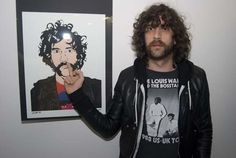 Justice's Gaspard Augé with Portrait at So Me's art show opening reception