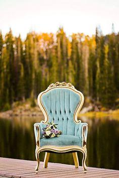 Vintage Blue Chair With Bouquet | Aspen Gold Utah Wedding Inspiration | Pepper Nix Photography | Via MountainsideBride.com