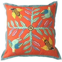 60x60cm cushion in Bird Crossing Sunset fabric. Back of cushion available in a variety of colours - see options available. Ardmorelogo on back of cushion. Cush