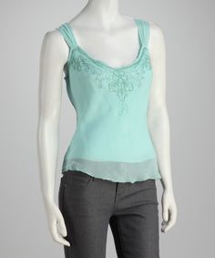 Teal Embroidered Chiffon Camisole