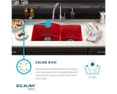 "Elkay Quartz Luxe 35-7/8"" x 19"" x 9"" Single Bowl Undermount Kitchen Sink with Perfect Drain Top Mount Kitchen Sink, Apron Sink Kitchen, Single Bowl Kitchen Sink, Farmhouse Sink Kitchen, Kitchen Sinks, Laundry Sinks, Kitchen Decor, Kitchen Fixtures, Plumbing Fixtures"