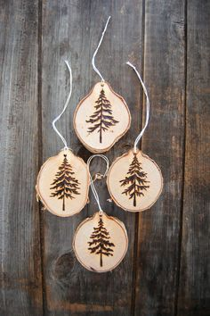 Wood burned Christmas tree ornaments northern fir holiday Christmas ornament evergreen rustic Vermont birch wood unique design ornament