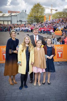 King Willem-Alexander, Queen Maxima, Princess Amalia, Princess Alexia and Princess Ariane attend the King's 50th birthday during the Kingsday celebrations on April 27, 2017 in Tilburg, Netherlands.