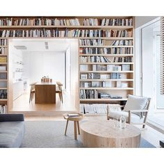 Book lined walls.