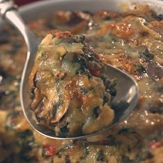 Savory Bread Pudding with Spinach and Mushrooms