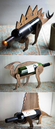 Dinosaur Shaped Wine Bottle Holders from TheBackPackShoppe