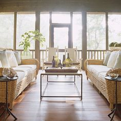 SUNROOMS/ENCLOSED SCREEN PORCHES... Simple but cozy and two sofas