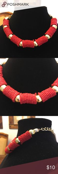 Red Beaded Choker Red seed beaded choker with gold accents! Very pretty!! Bundle and save!! Jewelry Necklaces