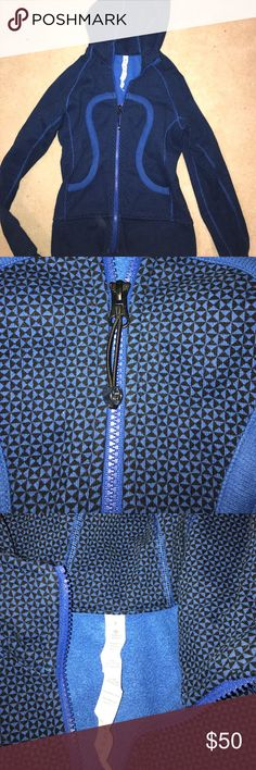 Lululemon Scuba Hoodie This jacket is in new condition. Very detailed pattern on the outside perfect for a workout. Royal blue and black pattern. lululemon athletica Jackets & Coats