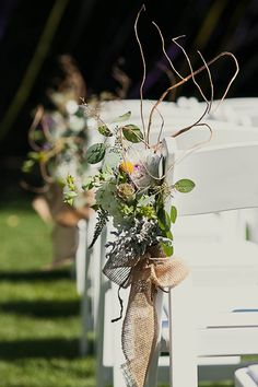 Burlap wedding aisle marker
