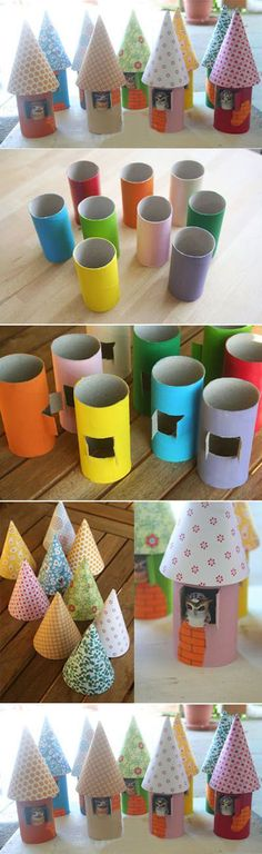 Cute Paper Craft! Turn toilet paper rolls into miniature castles.