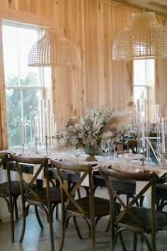 Rustic long table decor and reception | Wedding Decor Inspiration with Chic Neutrals, Pinks and Pampas Grass - Perfete