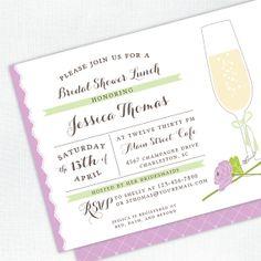Champagne Bridal Shower Invitation - Purple Invite - Printed Bridal Shower Invitation