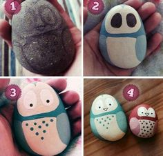 Free Rock Painting Lesson - Simple Owls  http://paintingrocks.blogspot.com/2012/10/free-rock-painting-lesson-simple-owls.html <- click here to learn how  Painted owl rocks are very popular and this easy,fun project has unlimited possibilities. for Gifts or for Gardens or as a paper weight