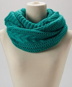 Take a look at this Turquoise Chunky Knit Infinity Scarf by Joy Accessories on #zulily today!